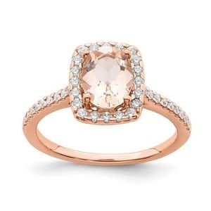 14k Morganite Diamond Halo Engagement Ring